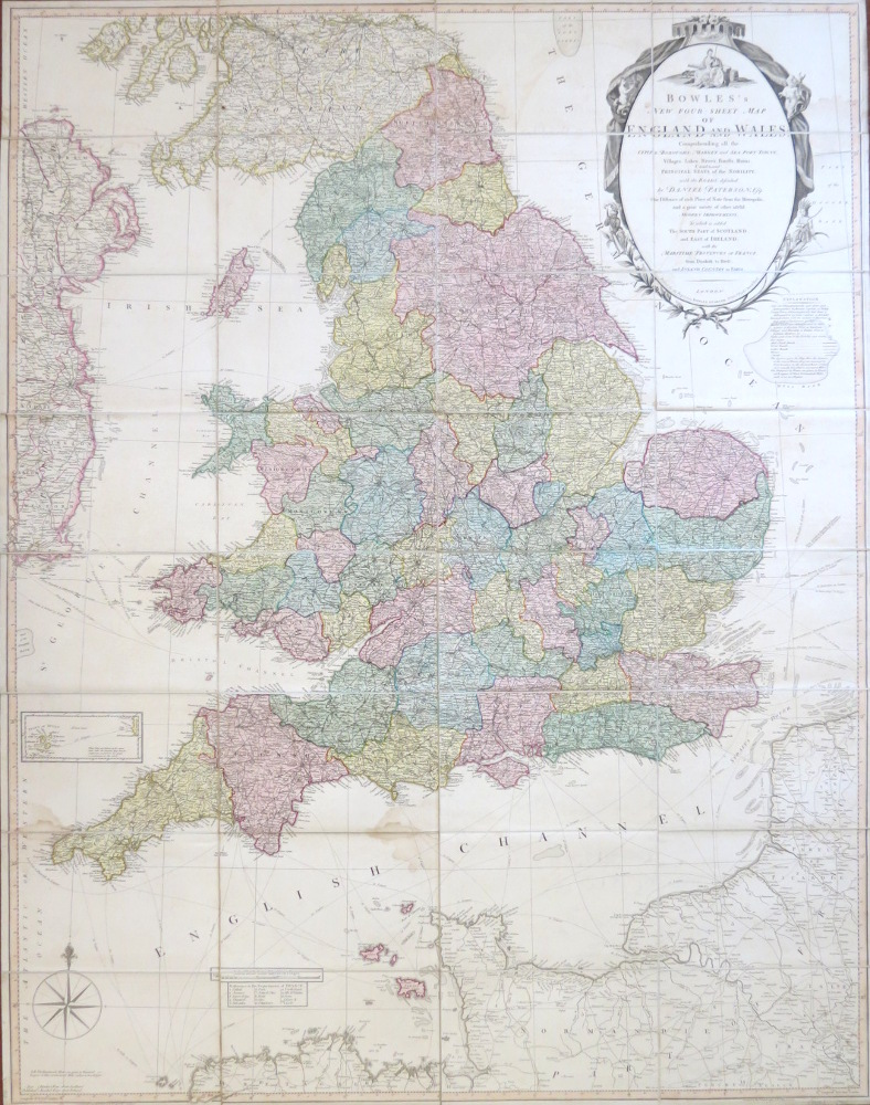 bowles s new four sheet map of england and wales comprehending bowles s