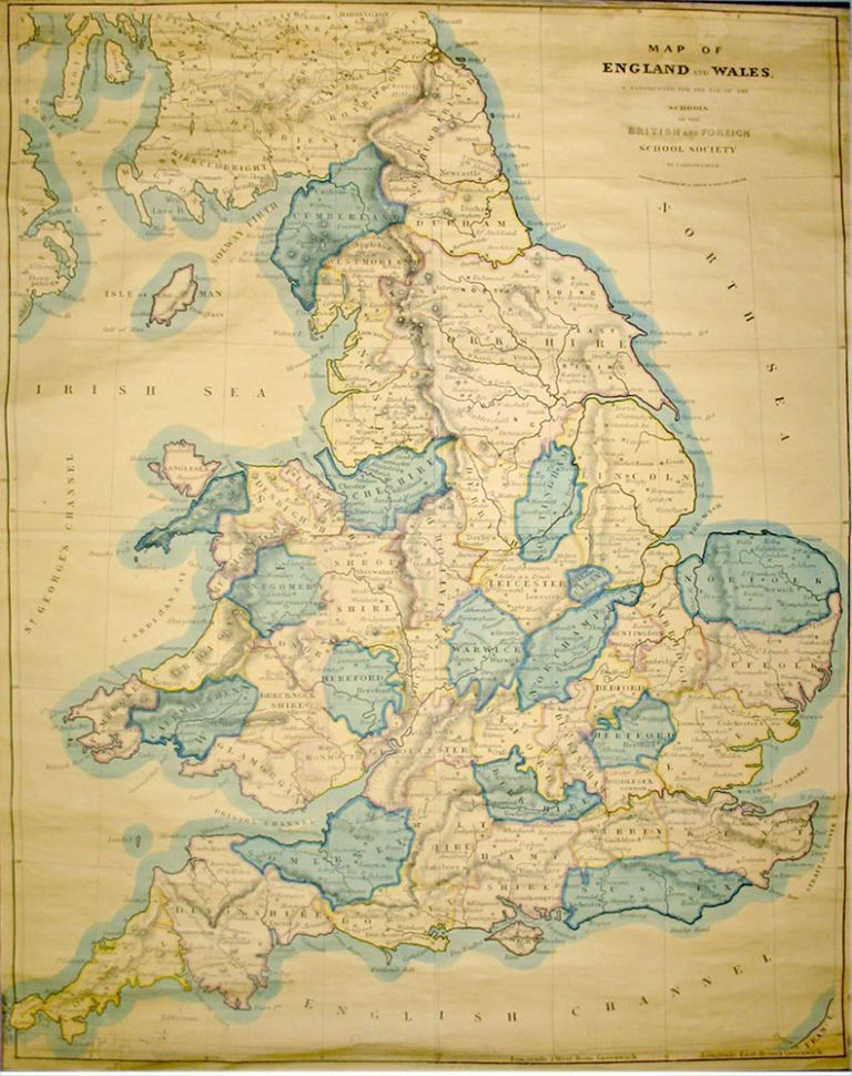 Map of England And Wales, Constructed for the Use of the Schools of the British and Foreign School Society. S. ARROWSMITH.