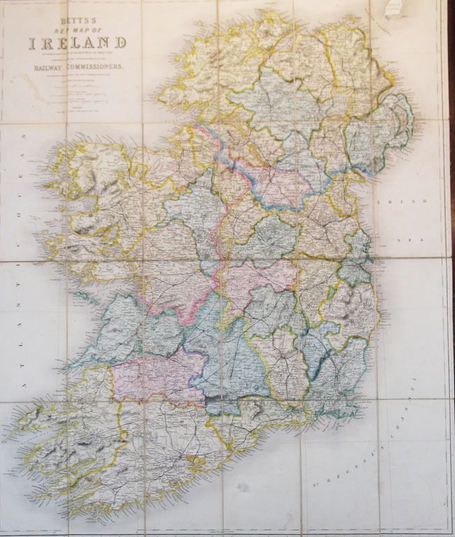 Betts' New Map of Ireland Accurately Reduced from the Beautiful Six Sheet Map Engraved Under the Superintendence of the Railway Commissioners. The Matter Compiled From The Latest Parliamentary Returns and Other Valuable Documents.