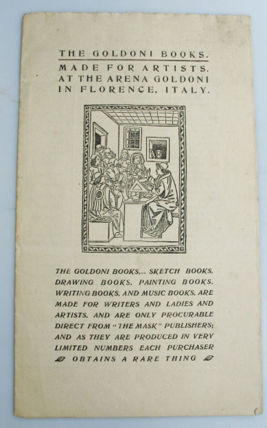 """[Catalogue of Books]: """"Made for Artists, at the Arena Goldoni, in Florence, Italy."""" GOLDONI BOOKS."""