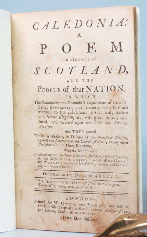Caledonia: A Poem in Honour of Scotland, And the People of that Nation. Daniel DEFOE.
