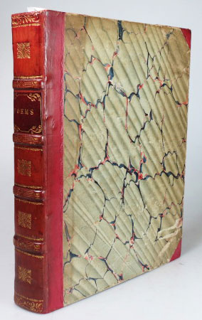 """Late Eighteenth Century Poetry]. 1. JERNINGHAM, Mr. [Edward]. The Ancient English Wake. A Poem. London: Printed by William Richardson... for James Robson, 1779. (iii-vii), 6-21, (1) pp., bound without the half title. [bound with] 2. [ROGERS, Samuel]. An Epistle to a Friend, with Other Poems... London: Printed by R. Noble for T. Cadell, 1796. 45, (1) pp. 3. [MAURICE, Thomas]. The Crisis, or the British Muse to the British Minister and Nation. London: Printed for the author, and sold by R. Faulder, 1798. 32 pp., bound without the half title. 4. SOTHEBY, W. Poems: Consisting of a Tour Through Parts of North and South Wales, Sonnets, Odes, and An Epistle to a Friend on Physiognomy. Bath: Printed by R. Cruttwell and sold by R. Faulder, London and T. Baker, Southampton, 1790. (iii-viii), 5-93 pp., bound without the half title and possibly a rear blank. 5. SMITH, Charlotte. Elegiac Sonnets. London : Printed for J. Dodsley, H. Gardner, and J. Bew, [1786]. Third edition, """"with twenty additional sonnets"""". (iv), vi, (ii), 44 pp. 6. RICHARD, George. The Aboriginal Britons, a Prize Poem, Spoken in the Theatre at Oxford, July VIII MDCCXCI. Oxford: Sold by D. Prince and J. Cooke; and J.F. and C. Rivington, London, 1791. Second edition. 24 pp. 7. [MAURICE, Thomas]. An Elegiac and Historical Poem, Sacred to the Memory and Virtues of the Honourable Sir William Jones. Containing a Retrospective Survey of the Progress of Science, and the Mohammedan Conquests in Asia. London: Printed for the author, and sold by himself, 1795. 39, (5) pp., bound without """"Proposals for publishing by subscription, .. The History of Hindostan"""" by the same author. 8. HAFEZ [or HAFIZ]. Ketab Laléhzar, az Divani Hafez. Select Odes, from the Persian Poet Hafez, Translated into English Verse; with Notes Critical, and Explanatory: by John Nott. London: Printed for T. Cadell... and sold by J. Payne and Sons, J. Fletcher and Messrs. Prince and Cooke, Oxford. (4), xvi ,xii, (8), 131, (1) pp. SAMMELBAND."""
