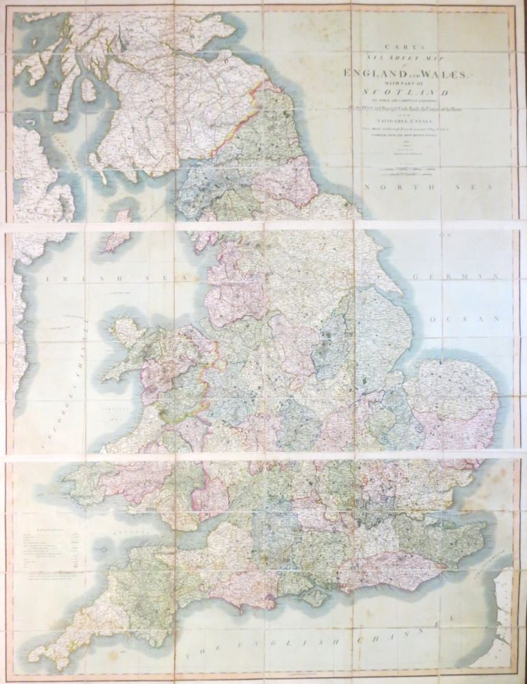 Cary's Six Sheet Map of England and Wales, with Part of Scotland: on which are Carefully Laid Down all the Direct and Principal Cross Roads, the Course of the Rivers and Navigable Canals, Cities, Market and Borough Towns, the Principal Villages, Parks &c. J. CARY.