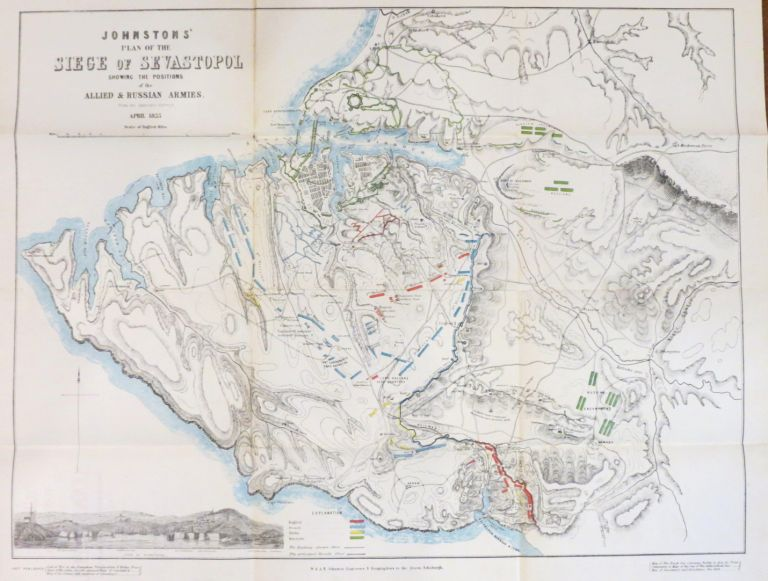 Johnstons' Atlas of the War 1855. [Comprising]: Johnston's New Map of the Seat of War in the Danubian Principalities and Turkey...; Johnston's Chart of the Baltic Sea German Ocean & English Channel...; Johnston's New Map of the Crimea with a Plan of the Town and Port of Eupatoria...; Johnston's New Map of the Black Sea Caucasus, Crimea &c with Enlarged Plans of Sevastopol...; Johnston's War Map of Europe Showing the Seats of Operation in the Black Sea & Sea of Azov...; Johnston's Plan of the siege of Sevastopol Showing the Positions of the Allied & Russian Armies...; Johnston's Chart of the Sea of Azov, with a Map of the Grain Producing Portion of Russia whence it Derives its Commerce. W. JOHNSTON, A K.