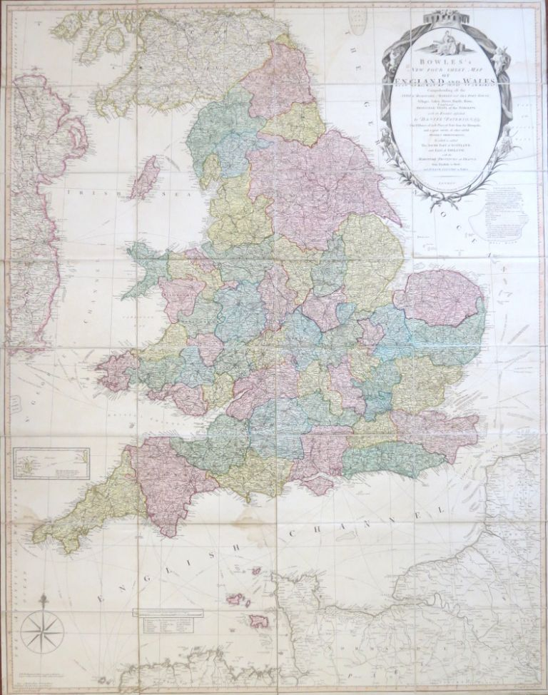 Bowles's New Four-Sheet Map of England and Wales: Comprehending all the Cities, Boroughs, Market and Sea Port Towns, Villages, Lakes, Rivers, Forests, Ruins, Canals, and Principal Seats of the Nobility, described by. BOWLES AND CARVER, Daniel PATERSON.