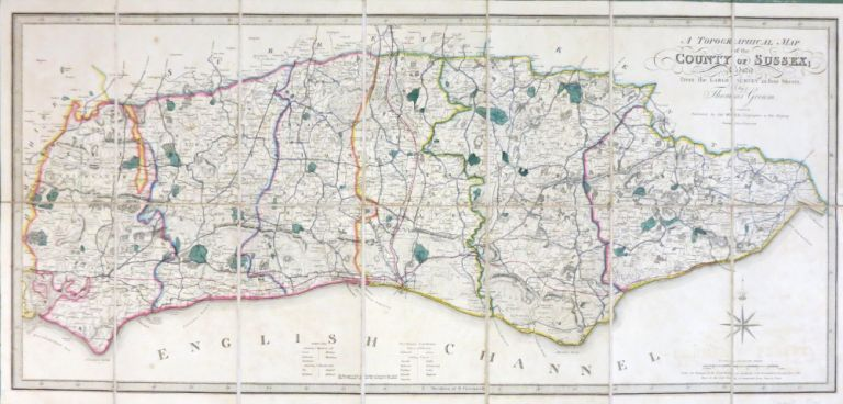 A Topographical Map of the County of Sussex; Reduced from the Large Survey in Four Sheets by. Thomas GREAM.