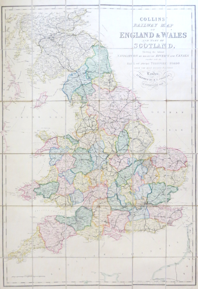 Collins' Railway Map of England & Wales and Part of Scotland, Shewing the Inland Navigation by Means of Rivers and Canals Together with the Rail and Principal Turnpike Roads from the Most Recent Surveys. H. G. COLLINS.