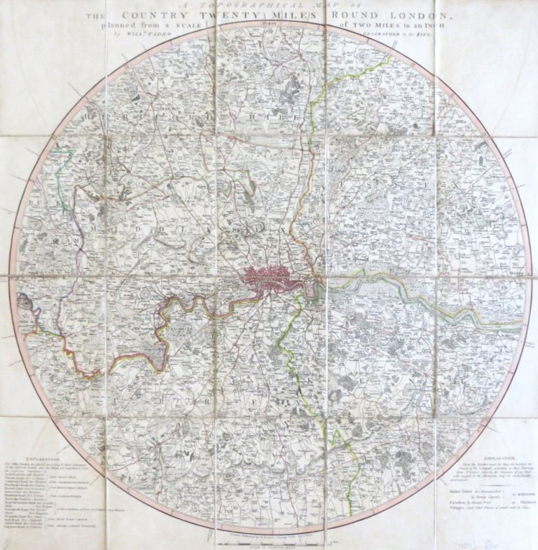 A Topographical Map of the Country Twenty Miles Round London, Planned from a Scale of Two Miles to an Inch. William FADEN.