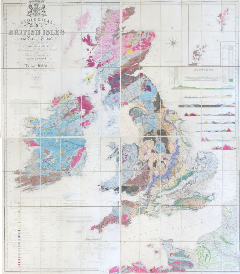 Geological Map of the British Isles and Part of France. Showing also ...