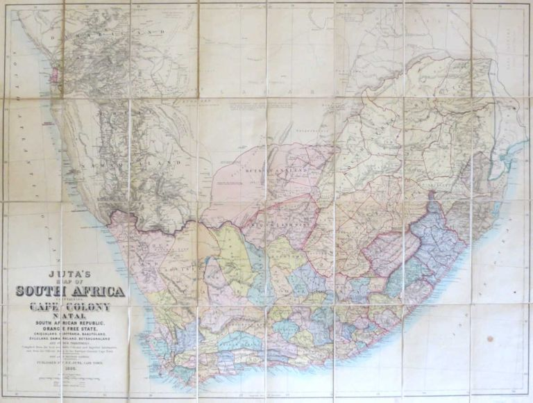 Juta's Map of South Africa Containing Cape Colony, Natal, South African Republic, Orange Free State, Criqualand, Kaffraria, Basutoland, Zululand, Damaraland, Betshuanaland, and Other Territories. Compiled from the Best Available Colonial and Imperial Information and the Official Map of the Surveyor General Cape Town. J. C. JUTA.