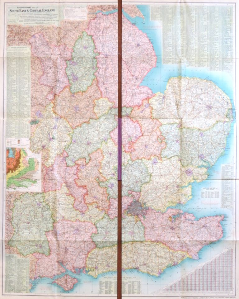 Richardson's Map of South East & Central England. Comprising the Counties of Derby, Nottingham, Lincoln, Leicester, Rutland, Warwick, Northampton, Huntingdon, Cambridge, Norfolk, Suffolk, Bedford, Oxford, Buckingham, Hertford, Essex, Middlesex, London, Berkshire, Wiltshire, Hampshire, Surrey, Sussex & Kent. Showing Boroughs in Separate Colours, Railways, Roads, & Golf Links. G. W. BACON.