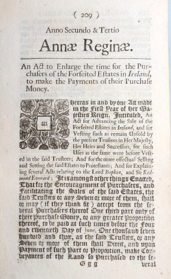 An Act to Enlarge the time for the Purchasers of the Forfeited Estates in Ireland, to make the Payments of their Purchase Money. PARLIAMENTARY PAPERS.