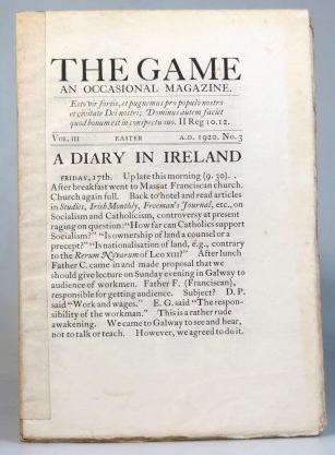 The Game. An Occasional Magazine. Vol. III. No. 3. Easter 1920. SAINT DOMINIC'S PRESS.