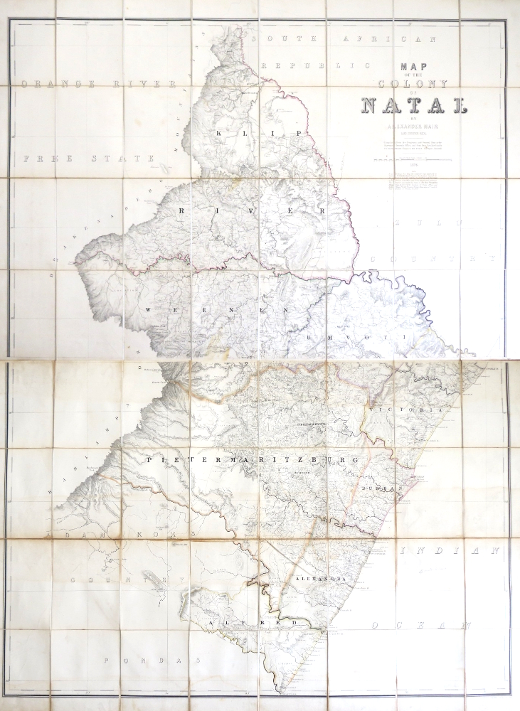 Map of the Colony of Natal. Compiled from the Diagrams and General Plans in the Surveyor General's Office, and then Data Furnished him by P.C. Sutherland Esquire M.D. F.R.G.S. Surveyor General. Alexander MAIR.