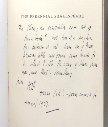 The Perennial Shakespeare. The Twentieth of the Broadcast National Lectures delivered on 13 October 1937. Harley GRANVILLE-BARKER.
