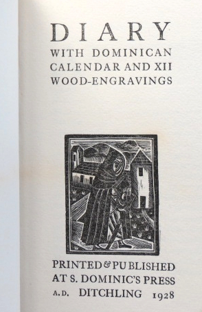Diary with Dominican Calendar, and XII Wood-Engravings. SAINT DOMINIC'S PRESS.
