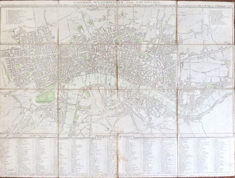 London, Westminster and Southwark, Accurately Delineated from the Latest Surveys, to which is Added a Correct List of Upwards of 350 Hackney Coach Fares. J. CARY.