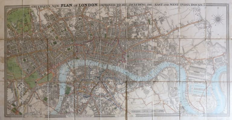 Cruchley's New Plan of London Improved to 1827 Including East and West India Docks. G. F. CRUCHLEY.