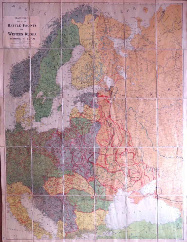 Stanford's Map of the Battle Fronts of Western Russia. Murmansk to Batum. STANFORD.