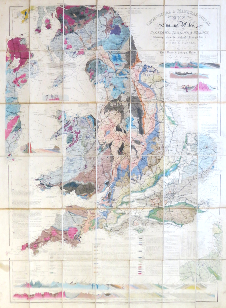 Geological & Mineralogical Map of England & Wales, With Parts of Scotland, Ireland & France, Showing also the Inland Navigation By Means of Rivers & Canals, With the Elevation Elevation in Feet Above the Sea, the Rail Roads & Principal Roads. J. A. KNIPE.