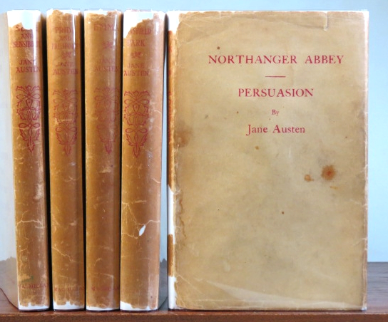 [Works]. Sense and Sensibility. Pride and Prejudice. Emma. Mansfield Park. Northanger Abbey. Persuasion. With an Introduction [in each volume] by Austin Dobson. Illustrated by Hugh Thomson [and] Charles E. Brock. Jane AUSTEN.