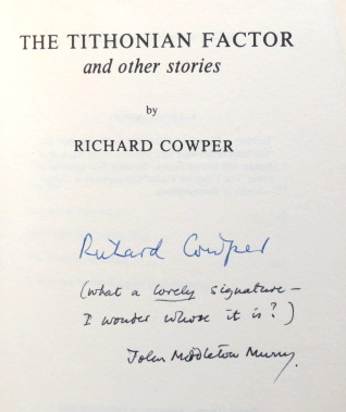 The Tithnonian Factor, and other stories. Richard COWPER, MURRY pseud., John Middleton.