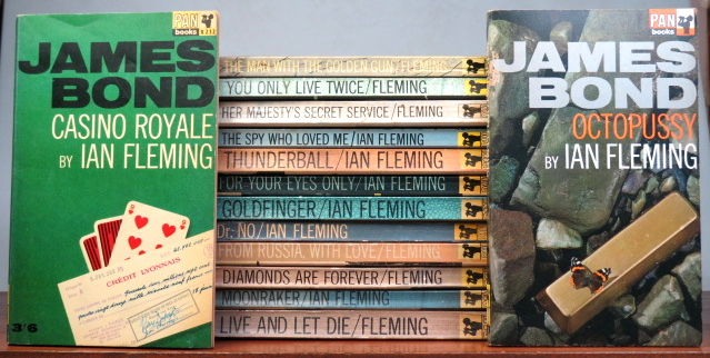 Casino Royale. Live and Let Die. Moonraker. Diamonds are Forever. From Russia With Love. Dr. No. Goldfinger. For Your Eyes Only. Thunderball. The Spy Who Loved Me. On Her Majesty's Secret Service. You Only Live Twice. The Man With the Golden Gun. Octopussy. Ian FLEMING.