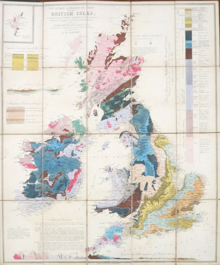 An Index Geological Map of the British Isles; Constructed from Published Documents, Communications of Eminent Geologists and Personal Investigation by... Professor of Geology, in King's College, London; and Engraved by J.W. Lowry. John PHILLIPS.