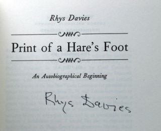 Print of a Hare's Foot. An Autobiographical Beginning. Rhys DAVIES