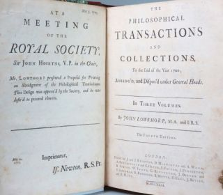 The Philosophical Transactions and Collections,... Abridge'd and Dispos'd Under General Heads... To the End of the Year 1700... [Compiled by] John Lowthorp (I-III); ...(From the Year 1700 to the Year 1720)... [Compiled by] Henry Jones (IV-V); ...(From the Year 1719 to the Year 1733)... [Compiled by] John Eames and John Martyn (VI-VII).