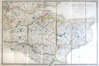 A Map of the County of Kent Drawn from the Topographical Survey Taken, by Order of the Honourable Board of Ordnance, ... Reduced from the Large Map in Four Sheets by a Scale of One Inch to Two Statute Miles. ORDNANCE SURVEY, under the direction of, Wm. MUDGE, Lt. Colonel.
