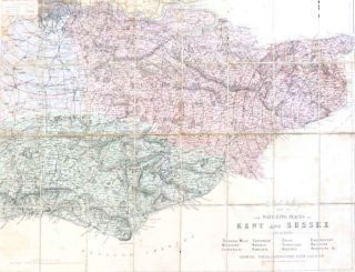 Bacon's Map of the Watering Places of Kent and Sussex. Including Tunbridge Wells, Maidstone, Canterbury, Sheerness, Margate, Ramsgate, Dover, Folkestone, Hastings, Eastbourne. Brighton, Worthing &c. G. W. BACON.