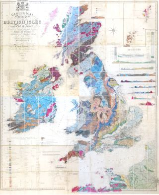 Geological Map of the British Isles and Part of France. Showing also the Inland Navigation by Means of Rivers and Canals, Railways and Principal Roads, and Sites of the Minerals. I. A. KNIPE, James Alexander.