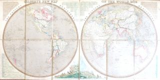 Gilbert's New Map of the World, 1839. GILBERT, James.