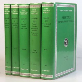History of Animals. Parts of Animals. Movement of Animals. Progression of Animals. Generation of Animals. With an English translation by A.L. Peck, D.M Balme [and] E.S. Forster. ARISTOTLE.