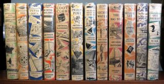 Swallows and Amazons. Swallowdale. Peter Duck. Winter Holiday. Coot Club. Pigeon Post. We Didn't Mean To Go To Sea. Secret Water. The Big Six. Missee Lee. The Picts and the Martyrs. Great Northern? Arthur RANSOME.