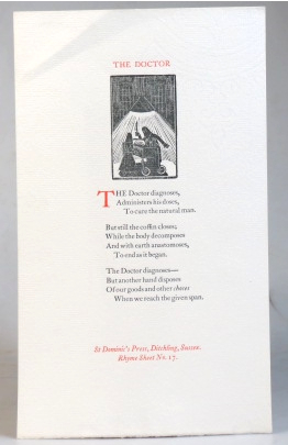 The Doctor. Rhyme Sheet No. 17. SAINT DOMINIC'S PRESS, H. D. C. PEPLER.