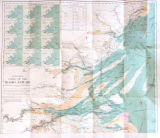 Stanford's No. 2 Coloured Chart of the Thames Estuary, with the river from London Bridge to...