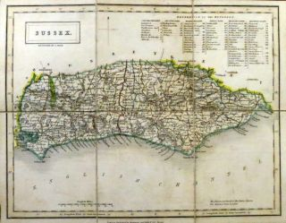 Pocket Map of] Sussex. CHAPMAN, HALL, Publishers