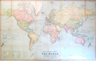 Bartholomew's Chart of the World on Mercator's Projection. [Cover title] Bartholomew's Commercial...